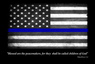 Thin Blue Line Flag Blessed Are the Peacemakers 8x12 Decorative Metal Sign