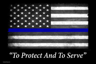 Thin Blue Line Flag To Protect And To Serve 8x12 Inch Decorative Metal Sign