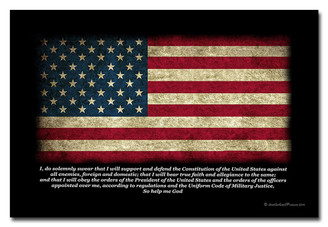 American Flag US Military Oath of Office 8x12 Metal Sign