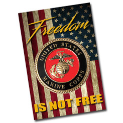 Marine Crest With American Flag Decorative Aluminum Sign.  Freedom Is NOT Free!