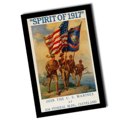 """Vintage Join The Marines Spirit of 1917 8"""" x 12"""" Sign"""