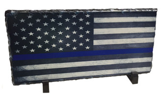 Thin Blue Line American Flag Slate Photo Rock