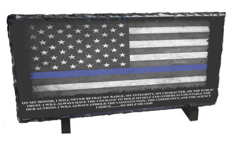 Blue Line Flag & Officer's Oath Slate Photo Rock