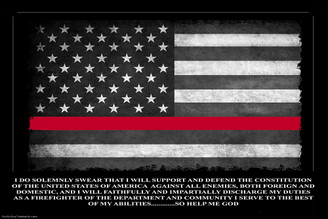 Thin Red Line Oath of Office Flag Poster - Firefighter