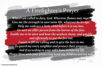 Firefighter's Prayer Red Line Poster 3 sizes available