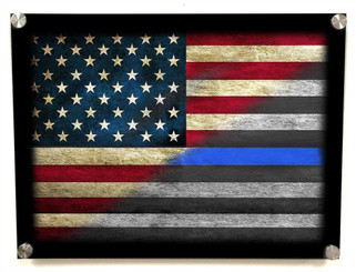 Thin Blue Line American Flag Aluminum Standoff Wall Decor