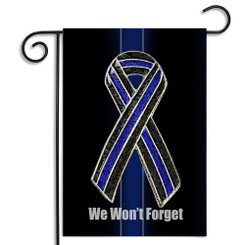 Thin Blue Line Awareness Ribbon Law Enforcement Garden Flag - We Won't Forget!