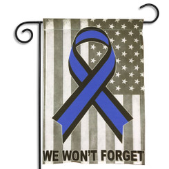 We Won't Forget Blue Awareness Ribbon Garden Flag