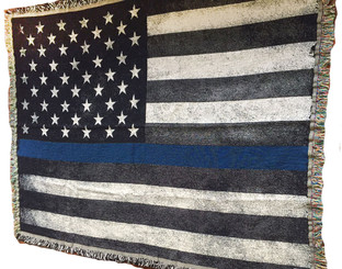 "American Flag with Law Enforcement Thin Blue Line Police Sheriff Cotton Tapestry 68"" x 52"""