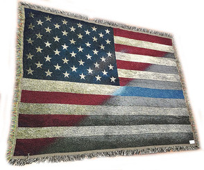 RWB American Flag with Law Enforcement Thin Blue Line Police Sheriff Cotton Tapestry