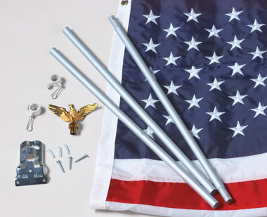 American Home Nylon US Flag Set with Silver Aluminum Pole