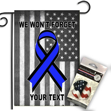 Personalized Law Enforcement Awareness Ribbon We Will Never Forget Garden Flag