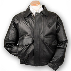 Buff Leather Bomber Jacket With Conceal And Carry Pockets-One Ass To Risk Insignia