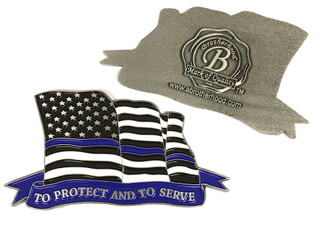 Law Enforcement Thin Blue Line American Flowing Flag To Protect And To Serve Lapel Pin - Package of Two (LA-032)