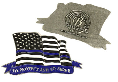 Law Enforcement Thin Blue Line American Flowing Flag To Protect And To Serve Challenge Coin