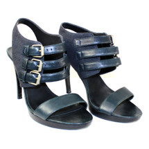 Pre-owned J. Crew Wyatt Buckle Heels in Leather and Canvas Black (9) MSRP $238