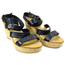 PRE-OWNED J. CREW SEVIGNE WASHED LEATHER WEDGES  BLACK (9)