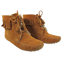 Pre-owned Minnetonka Shearling Sheepskin Lined Lace Up Leather Fringed Boots (9)