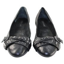 Pre-owned BCBGeneration Leather Studded Flats Black (9.5)