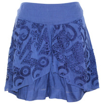 Pre-owned Leifnotes Anthropologie Blue Lace Overlay Jubilation Shorts Eyelet Silk (4)