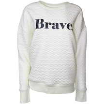 Lorna Jane 'Brave' Quilted Sweatshirt Off White