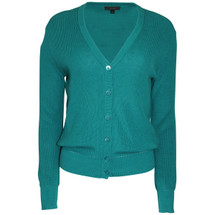 Pre-owned J. Crew Ribbed cotton cardigan sweater Teal (S)