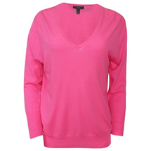 Pre-owned J. Crew Lightweight merino wool V-neck sweater Neon Pink (L)