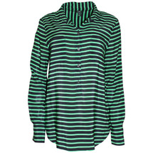 Pre-owned J. Crew Factory stripe silk popover blouse (M)