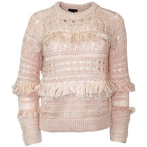 NWT J. Crew Collection fringe crewneck sweater Heathered Peach (S)