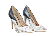 Pre-owned Sexy French Connection Black/White Leather Laser Cut Heels (9)