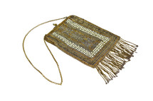 Vintage Frederick Loeser & Co Beaded Clutch Bag 1920's Gold
