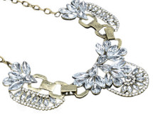 Chunky Vintage Gold Bubble Bib Statement Clear Crystal Cluster Necklace Diamante
