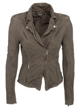 Muubaa Cion Fitted Suede Biker Jacket in Anthracite