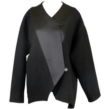 J Crew Collection Mixed Media Crossover Jacket Black
