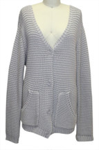 HEATHER Buttoned Knit Shawl Cardigan Grey Lilac Small