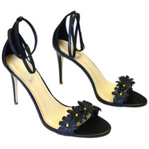 J CREW LEATHER FLOWER HIGH-HEEL ANKLE-STRAP SANDALS