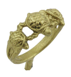 "3/8"" Three Turtles Ring"