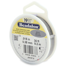 Beadalon 19 Strand Stainless Steel Bead Stringing Wire,  .015 in  30' Bright