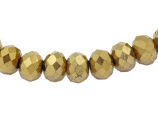 Gold Opaque 8 MM Rondelle Faceted