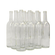750ml Clear Bordeaux Flat Bottom Bottles 12/Case
