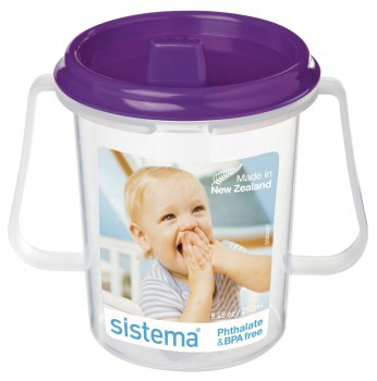 Dinkee Trainer Cup from Sistema shown with the purple lid. Dishwasher  safe on top shelf