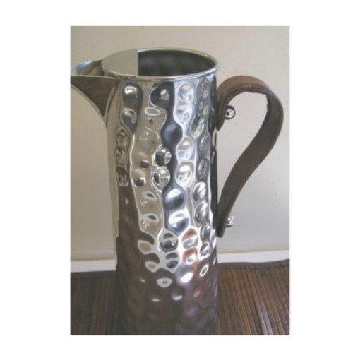 Bolt Hammered Water Jug with Leather Handle - with ice catcher. Stainless Steel