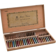 Laguiole 24 Piece Cutlery Set Wooden Gift Box by Jean Neron - Mixed Colour