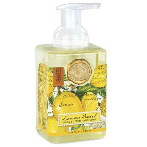 Large lemons dominate the label of the Lemon Basil Foaming hand Wash.