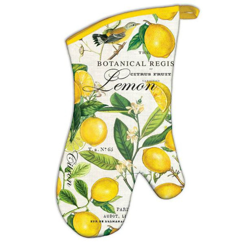 Lemons and leaves with a yellow binding and loop hook - Michel Design's Lemon and Basil Oven Mitt