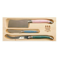 Simplicite Laguiole 3 piece Cheese Set with Cleaver - pink, blue, green - Giverny by Jean Dubost