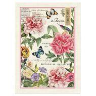 Pink Peony Kitchen Tea Towel with large blooms and butterflies hovering.