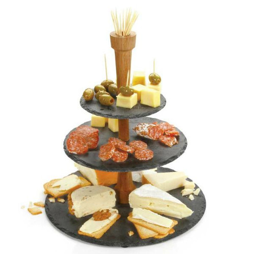 Boska cheese slate tower - 3 tiers of slate joined with an oak handle