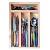 Mixed colours is the way to go for creating that different atmosphere with your 24 piece Laguiole Cutlery set.