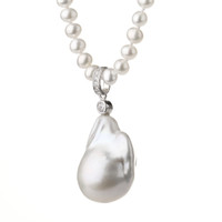 Large Irregular Pearl Pendant White Pearl Necklace